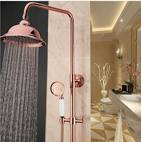 GOWE Rose Gold Bathroom Bath & Shower Set Faucet Single Handle 8'' Rainfall Shower Head Shower System with Handheld