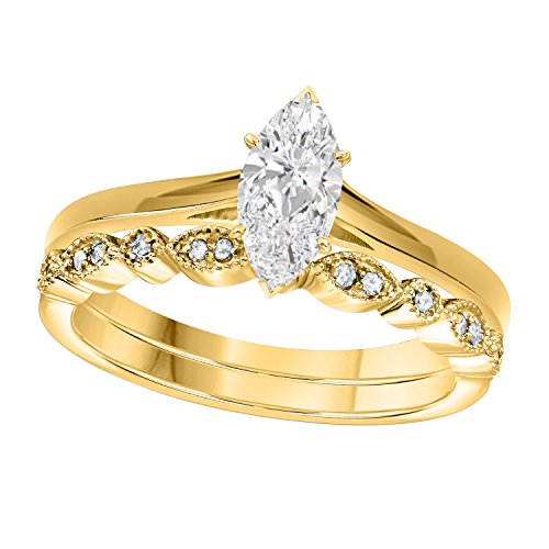 (Gems and Jewels 1.00 Ct Marquise Shape & Round Cut White CZ Diamond 14k Yellow Gold Plated Art Deco Vintage Design Wedding Bridal Set Engagement Ring)