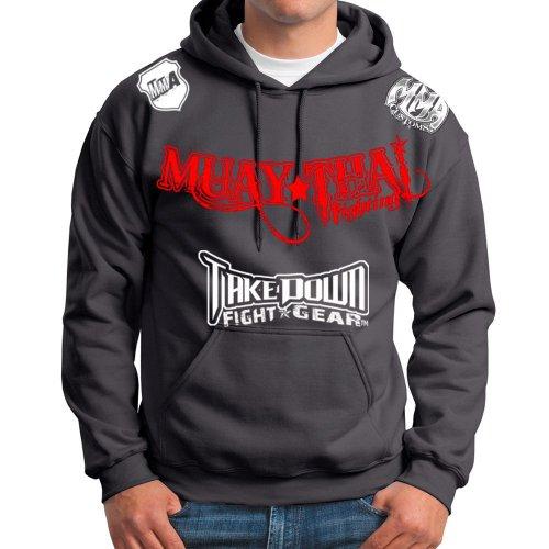 Muay Thai Fighting Jiu Jitsu Stryker Fight Gear Hoodie Jacket Jumper MMA UFC W * (Large, Gray)