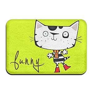 Funny Cat lavable alfombrilla antideslizante para puerta Interior/Al aire libre Felpudo