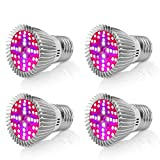 Led Grow Light Bulb, EnerEco Full Spectrum 40W Plant Llight for Indoor Plants, E27/E26 Base Grow Plant Lights Lamp For Flowering Lighting Vegetables Hydroponic System Greenhouse Organic, AC 85-265V [Pack of 4]