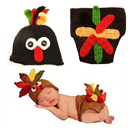 Baby Photography Turkey Knitted Crochet Costume Hat Caps Diaper Photography Prop for Kids (Lil' Gobbler Turkey Baby Costumes)