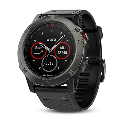 Garmin fenix 5X Sapphire (Slate Gray with Black Band) GIFT BOX Bundle | Includes Glass Screen Protector, PlayBetter USB Car & Wall Adapters, Protective Case | Multi Sport GPS Watch, Wrist HR/TOPO Maps
