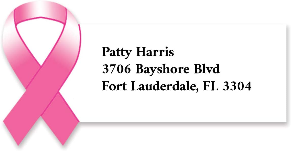 Pink Advocacy Awareness Ribbon Diecut Sheeted Address Labels