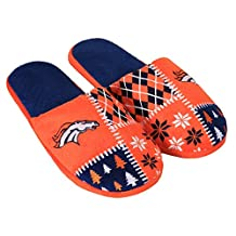 Denver Broncos Men's Ugly Sweater Knit Slippers - Size Small