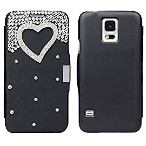 Susenstone(TM) PU Leather Luxury Bling Diamond Flip Case Cover For Samsung Galaxy S5 i9600 (Black)