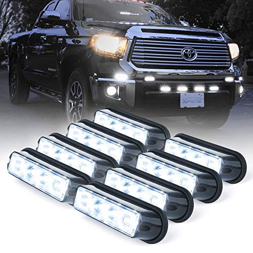 - Xprite White 4 LED 4 Watt Emergency Vehicle Waterproof Surface Mount Deck Dash Grille Strobe Light Warning Police Light Head with Clear Lens - 8 Pack