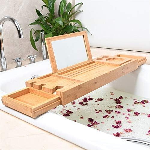 ノンスリップ浴室バスタブストレージラック/リトラクタブル竹バスタブトレー、バスタブラック、携帯電話のブラケットを防止するために、多機能、94分の52×20cmx5cm (Color : Bamboo color)