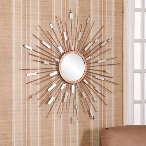 mirrored wall art nz decals mirror 5 piece set mid century modern sunburst sculpture decorate entryways kitchens living rooms this gold finish dazzling metal s