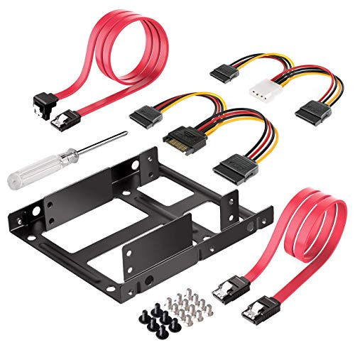 SSD to 3.5 Inch Internal Hard Disk Drive Mounting Kit Bracket (SATA Data Cables and Power Cables Included) (ST1002S) ()