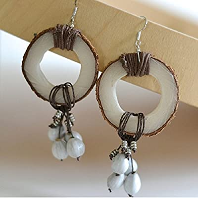 Women's Rustic Natural Tagua Earrings Handmade Eco Zambia Africa Fair Trade