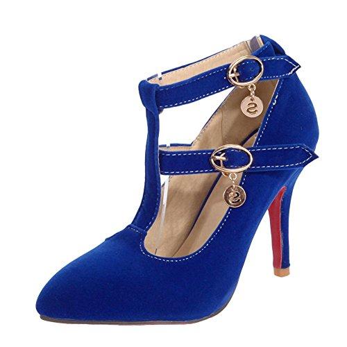 MissSaSa Damen elegant high heel Knöchelriemchen T-Spange Pumps mit Stiletto Blau