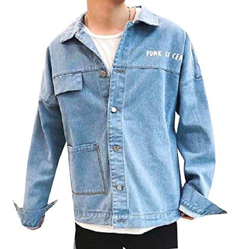 Winwinus Men's Fine Cotton Regular Baggy Wild Fashion Simple Jeans Jacket 3 M