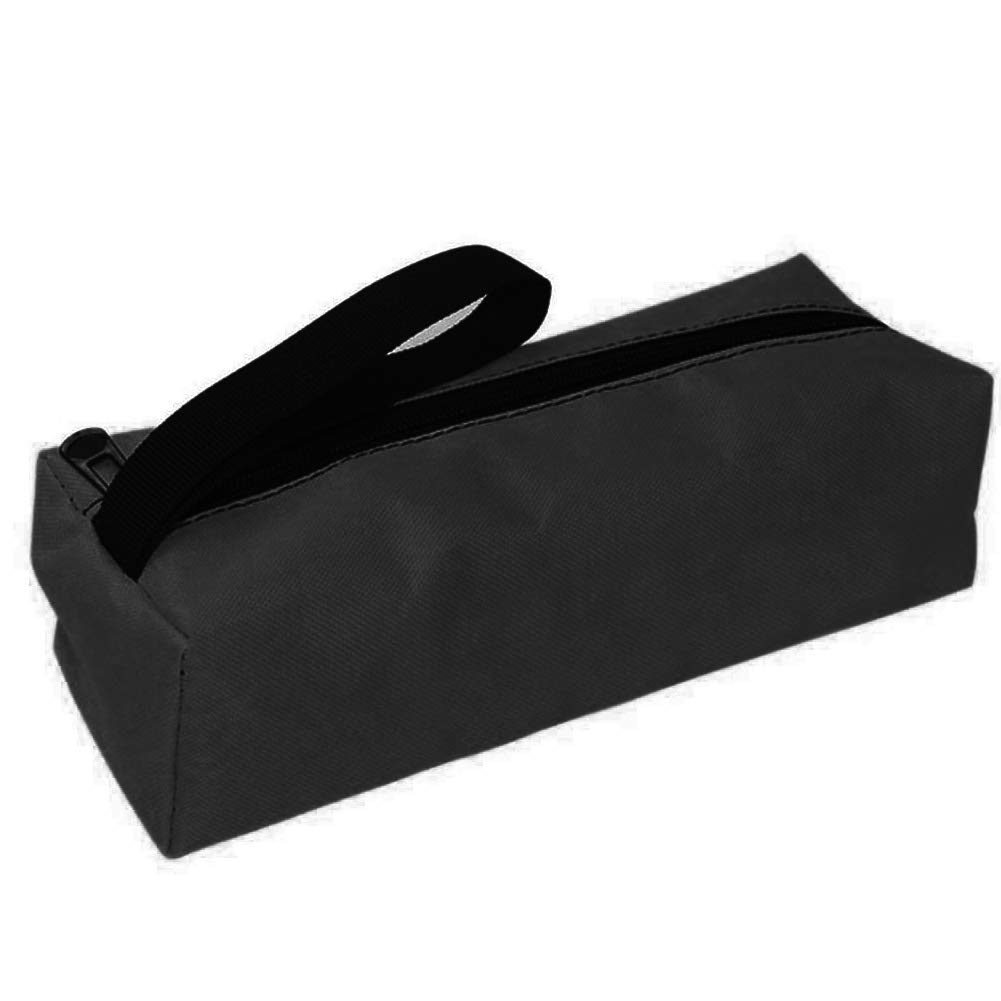 Zipper Tool Bag, Multifunctional Thickening Oxford Cloth Pouch Organizer Storage Bag Small Parts Hand Tool Plumber Electrician(Black)