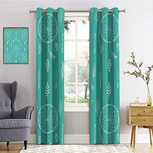 - Arrows 100% blackout lining curtain Doodle Style Art Design With Ethnic Arrows Feathers and Dreamcatcher Hippie Full shading treatment kitchen insulation curtain W84 x L96 Inch Teal and White