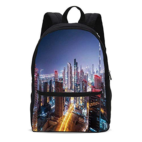 City Durable Backpack,Nighttime at Dubai Vivid Display United Arab Emirates Tourist Attraction Travel Theme for School Travel,10.6