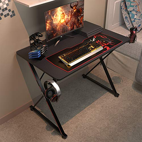 DESIGNA 39'' Gaming Desk, X-Shape Computer Desk with Free Mouse pad, Cup Holder& Headphone Hook & Controller Stand, Gamer Workstation for Home Office, Black