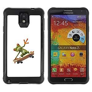 "Pulsar iFace Series Tpu silicona Carcasa Funda Case para SAMSUNG Galaxy Note 3 III / N9000 / N9005 , Sk8 Rana Monopatín Hip blanco limpio"""