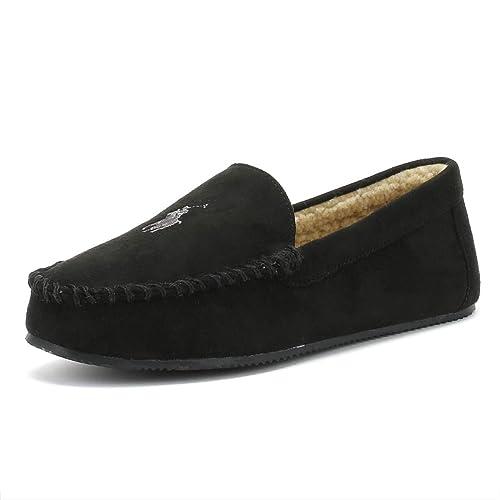 25b817e16e Ralph Lauren Mens Black Dezi IV Moccasin Slippers-UK 6