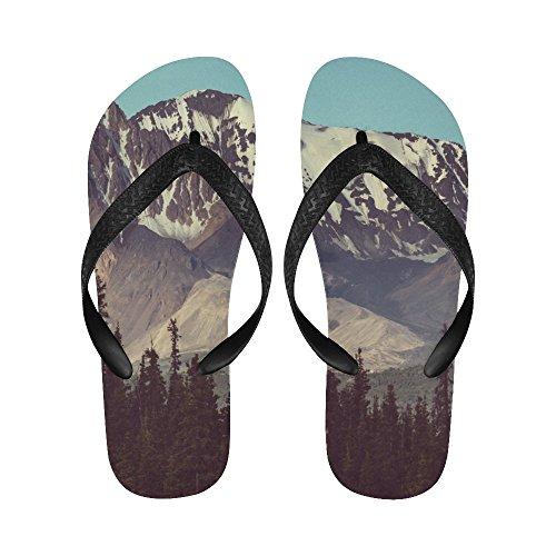D-Story Mountains Of Alaska In Summer Flip Flops Beach Sandals For Men/Women