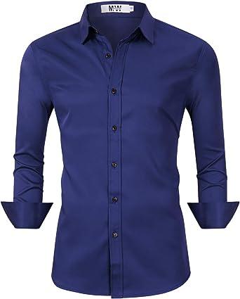 Kuulee Camisa de Vestir para Hombre, con Botones, Informal, Ajustada, de Fibra de bambú, elástica, para Oficina, Boda, Trabajo: Amazon.es: Ropa y accesorios