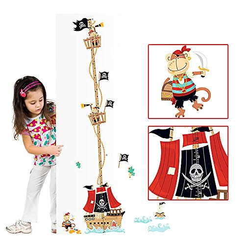 VSTON Height Measurement Growth Figure Pirate Ship Detachable Wall Decoration Sticker Perfect Nursery Game Room Children Bedroom(Pirate Ship) by VSTON