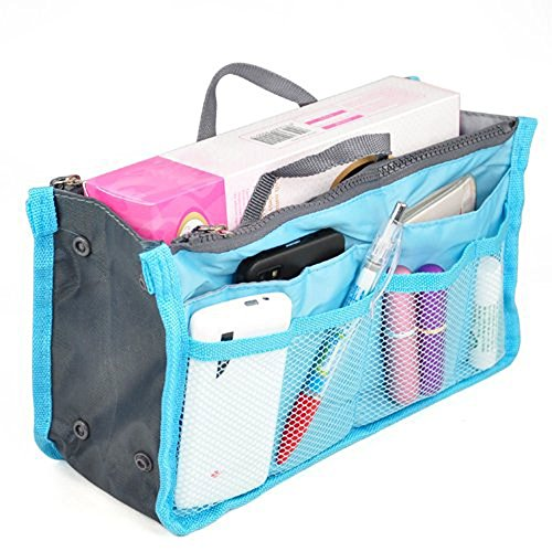 Cotton Square Handbag Shoulder Bag - Large Purse Organizer Insert Handbag Pouch Tidy & Neat (Ships From USA) (blue)