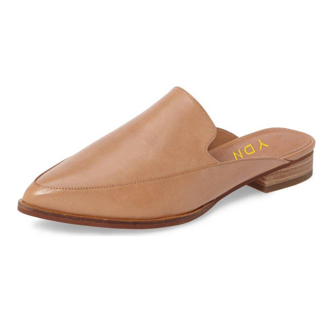 YDN Women Low Heels Mules Slip On Flats Loafers Pointy Toe Clogs Slide Slipper Shoes Nude 8.5