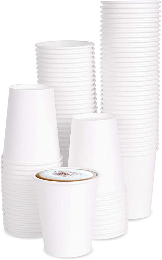 100 x 8oz Single Wall White Paper Cups for Hot Drinks Premium Disposable CoffeeTea Paper Cups Perfect for Your Home, Café, Work, Parties or Outdoors.