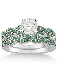 Infinity Style Twisted Emerald Bridal Set Setting in Palladium (0.55ct) (No center stone included)