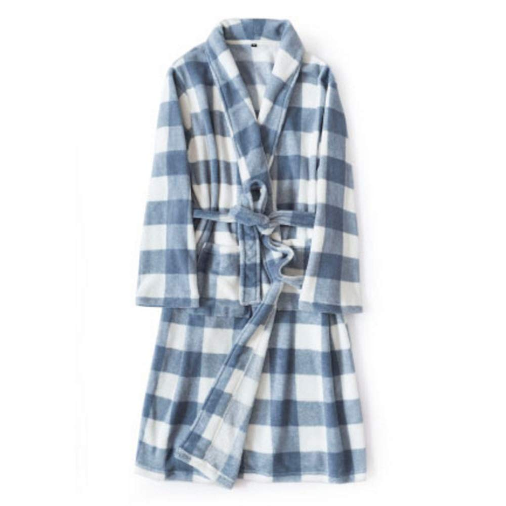 bluee NAN Liang Home Bathrobes Autumn and Winter Thick Warm Sleepwear Long Men and Women Couple Night Gown Soft and Strong Water Absorption Robe (color   Pink)