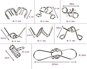 BIHRTC Set of 8 IQ Toys, IQ Test Mind Game Toys Brain Teaser Metal Wire Puzzles Magic Trick Toy, Metal IQ Puzzle