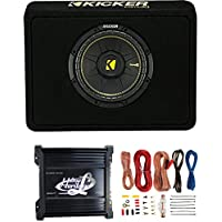 Kicker 40TCWS104 10 600W Car/Truck Subwoofer + Box + 1000W Amplifier + Amp Kit