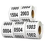 Tuco Deals 1.5'' x 1'' Inch Large Number Square White / Black Consecutive Number Labels Self Adhesive Stickers Bundle of 5 - Numbers 0001 - 2500