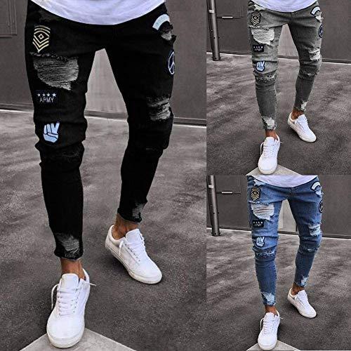 Denim Vintage Blau Skinny Da Ragazzo Pantaloni lannister Jeans Stretch Uomo Fashion Qk Pants Ripped Casual Holes Jeggings 1wqE47x1