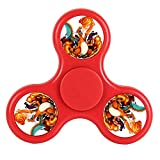 New Style Cheap Cool Tri-Hands Fidget Spinner Toy, Stress Reducer Relieve Anxiety, Controlling Force, Fashion Design and Images(Charizard - Red)