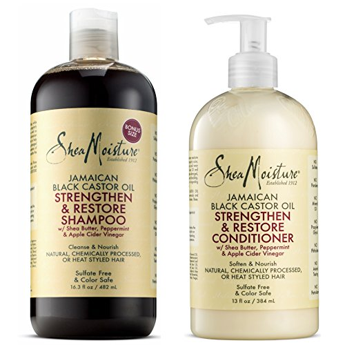 Shea Moisture  Strengthen, Grow & Restore Shampoo and Conditioner Set, Jamaican Black Castor Oil Combination Pack, 16.3 oz Shampoo & 13 oz. Conditioner