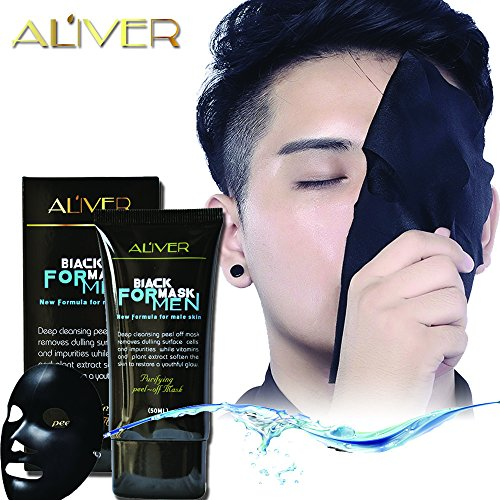 Aliver Natural Activated Charcoal Purifying Blackhead Acne Remover Peel-Off Facial Cleaning Black Face Mask Blackhead Remover Mask for Men