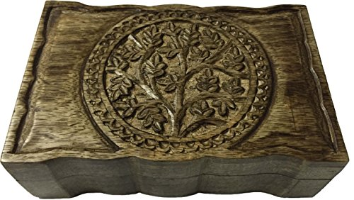 vrinda Wooden Hand Carved Tree of Life Box 9 inch x 6 inch. ()