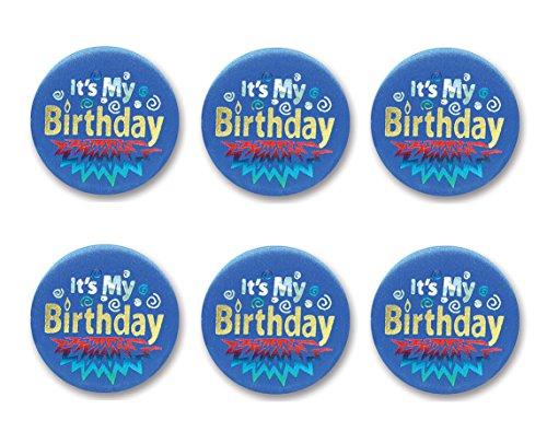 Beistle BN192 6-Pack It's My Birthday Satin Button, 2-Inch, Blue