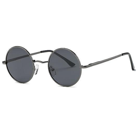 4552a98b4 AEVOGUE Polarized Sunglasses Small Round Lens Metal Frame Retro Unisex  Glasses AE0518 (Gray&Black, ...