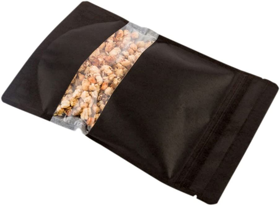 Black Bag with Clear Window, Food Bag, Candy Bag - Heat Sealable - 8.9