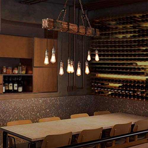 Rustic Wood Beam Edison Hanging Ceiling Light ,Natural Reclaimed Wooden Style Pendant Lighting E26x10 Lights Retro Industrial Style Chandeliers for Bar Kitchen Dining Room by Eoyemin (Image #6)