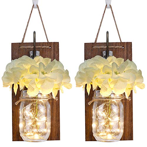 Jar Decor (Anpro Rustic Wall Sconces,Mason Jar Lights, Rustic Home Decor with Wrought Iron Hooks, Silk Hydrangea and LED Strip Lights Design for Home Decoration(Set of Two))