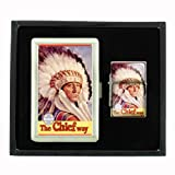 Train Santa Fe Native American Cigarette Case and Oil Lighter Gift Set D-345