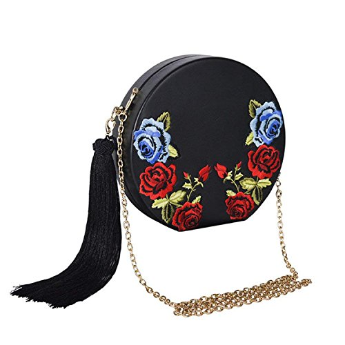 Clutch Tassels Lady Rising Designer Leather Flower Women Bags Purse Pouch Black ON Evening Coin Round Bag Evening Messenger Clutch SSTrw6qfxO