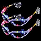 2-Pack of Flashing Panda LED Light-Up Flashing Party Raver Full-Frame Sunglasses Shades, Multi-Color