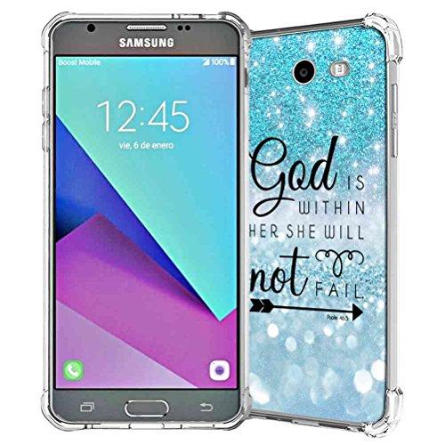 Galaxy J7 V Case, Galaxy Halo Case, Galaxy J7 Prime Case, Galaxy J7 Perx Case, Galaxy J7 Sky Pro Case Case, Samsung Galaxy J7 2017 Case, SuperbBeast Rubber Case (Teal Sparkle Glitter Texture)