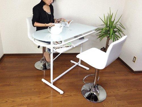 強化ガラスカウンターテーブル+デザインレザーバーチェアL型(2脚)ホワイト(白) 3点セット B00DB750NQ