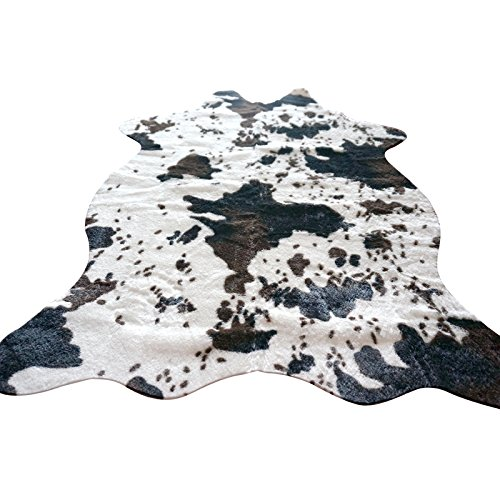 IMQOQ Cow Print Faux Cowhide Living Bedroom Non-Slip Carpet Rug 3.6x2.5FT (110cmx75cm) - Faux Cowhide Rugs
